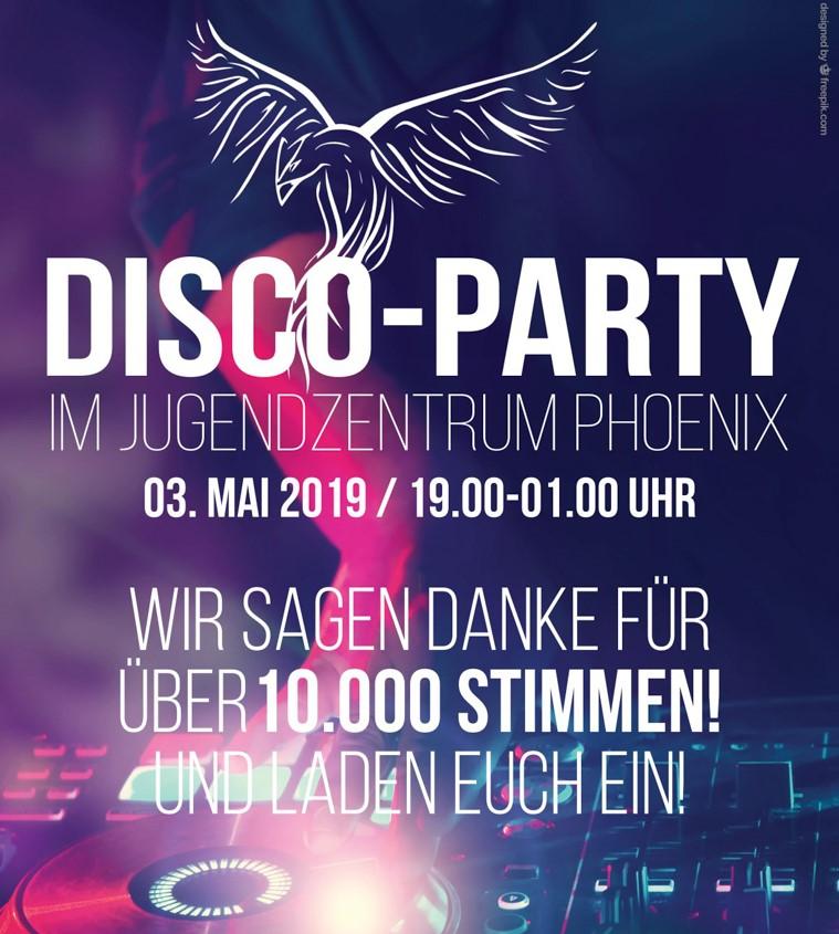 DANKESCHÖN-Disco zum 1. Platz beim Chrosmon Wettbewerb