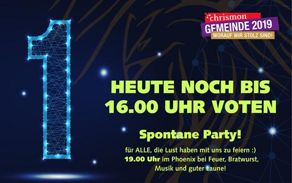 Wir schaffen es! Nr. 1 beim Chrismon Wettbewerb – Kommt zur Party!!!